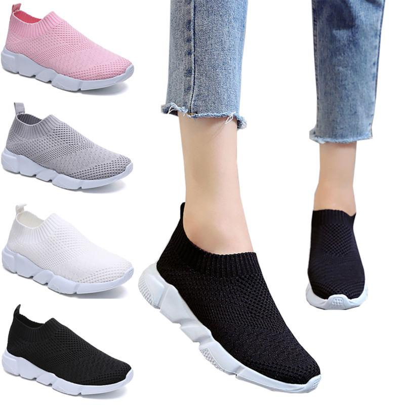 Womens Knitted Round Toe Breathable Slip On Casual Shoes Fla
