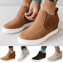 Ladies Platform Heel Wedge Loafers Sneakers Slip On Trainer