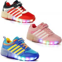 LED Sneakers for Kids Child Girls Boys Light Up Roller Skate