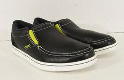 Crocs Men's LoPro Leather Lace-up Sneaker,Black/White,US 8 M