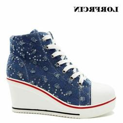 LORFRCIN Women Sneakers High Heel Canvas Shoes Bling Wedges