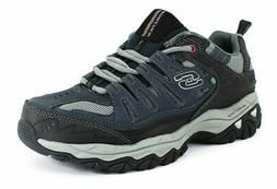 Skechers Men's After Burn Memory Fit Navy Leather fashion-sn