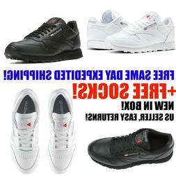 Mens Reebok Classic Leather CL Black White Men Tennis Sneake