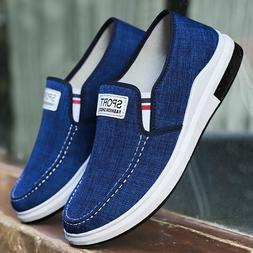 Men's Casual Canvas Breathable Sneakers Driving Loafers Slip