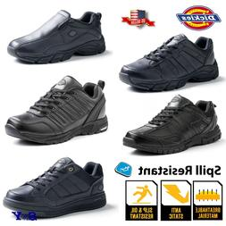 Men's Leather Black Slip Spill Oil RESISTANT Work Shoes Snea