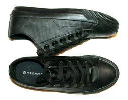 Airwalk Men's Legacee Black Smooth Faux Leather Lace-Up Snea