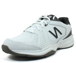 New Balance Men's MX409v3 White Grey Leather fashion-sneaker