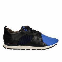 men's shoes D.A.T.E.  8  sneakers black blue leather AE534-4
