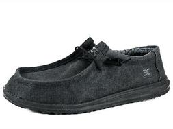 Hey Dude Men's Wally Canvas Black Cotton Slip-on Sneakers