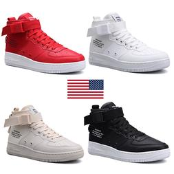 Men's Casual Fashion Leather Sneakers Lace up High Top Com