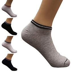 Mens Cotton Low Cut No Show Casual Non-Slide Socks OS Multic