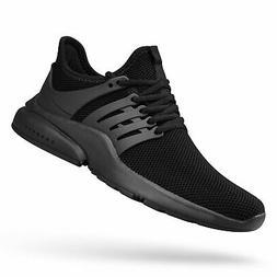QANSI Mens Sneakers Flyknit Tennis Running Shoes, Black, Siz