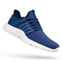 QANSI Mens Sneakers Flyknit Tennis Running Shoes Blue/White