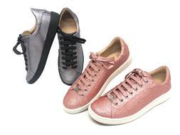 Ugg Australia Milo Glitter Pink Gunmetal Lace Up Sneakers Te