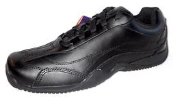 New GRABBERS CONVEYOR SLIP RESISTANT BLACK LEATHER SNEAKERS