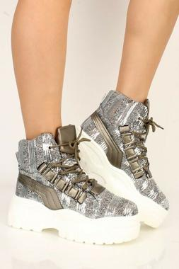 NEW Fashion Gunmetal White Sequin Lace Up Platform Sneakers