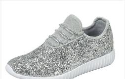New Fashion Kids Girls Glitter Sneakers Athletic Running Wal