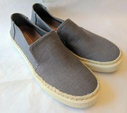 NEW TOMS Grayish Blue Canvas Shoes Sneakers Slip On Flats Wo