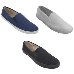 NEW Mens Canvas Sneakers Classic Deck Slip On  Shoes  3 Colo