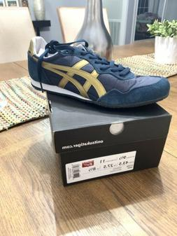 New MENS ONITSUKA TIGER NAVY SERRANO SUEDE NYLON Sneakers Sz