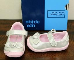 NEW Stride Rite SILVER MARY JANES SHOES sz 4 6 Toddler Girls