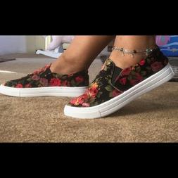 NEW SIZES Ladies velvet floral slip on sneakers. SIZE 6,7,8,