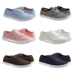 New Women Canvas Shoes Lace Up Casual Comfy Flat Fashion Sne