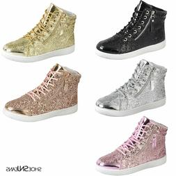 New Women High Top Glitter Sneakers Lightweight Walking Athl