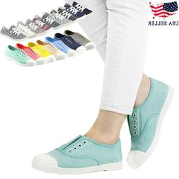 New Women Lace Up Low Top Casual Comfy Canvas Slip On Flat S