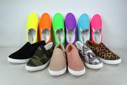 NEW Women's Assorted Colors Prints Slip On Casual Flat Sneak