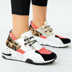 New Women's Colorblock Fashion Sneaker Lace Up Med Wedge Pla