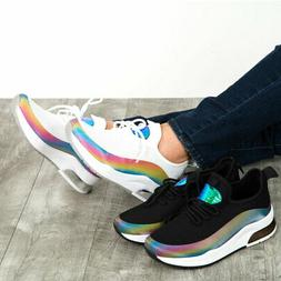 New Women's Lace Up Iridescent Rainbow Sneaker Shoe Med Low