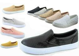NEW Soda Women's Perforated Slip On Flat  Round Toe Sneaker