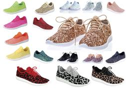 New Women's Sequin Glitter Lace Up Fashion Shoes Comfort Ath
