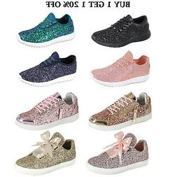 New Women Sequin Glitter Lace Up Sneakers Lightweight Walkin