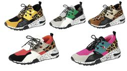 New Womens Athletic Chunky Wedge Sneakers Casual Comfort Fas