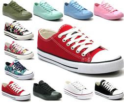 New Womens Girls Classic Lace Up Canvas Shoes Casual Comfort