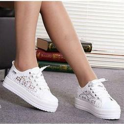 New Womens Lace Round Toe Hollow Platform Wedge Shoes Lace U