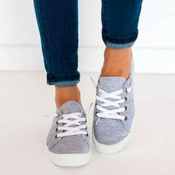 New Womens Lace Up Canvas Shoes Casual Comfy Slip-On Sneaker