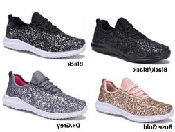 New Womens Sequin Glitter Lace Up Athletic Shoes Gym Walking