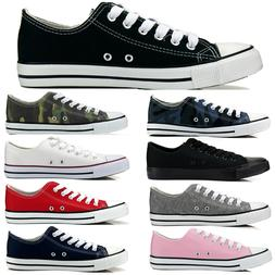 Womens Girls Sport Shoes Low Top Canvas Lace Up Sneakers Cla