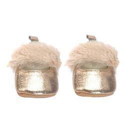Newborn Baby Soft Fur Plush Crib Shoes Sole Pram Anti-slip S