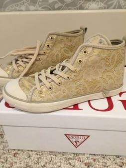 NIB GUESS Julia Lace High Top Ankle Sneakers Keds Beige US 5