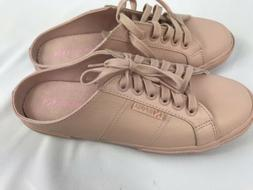 SUPERGA Pink leather open back sneakers Womens 8 New WO Box