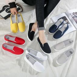 Plus Size Women Sneakers Slip on Shoes Woman Flats Canvas Lo