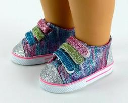 Rainbow Glitter Sneakers Sparkle Tennis for 18 inch Doll Sho