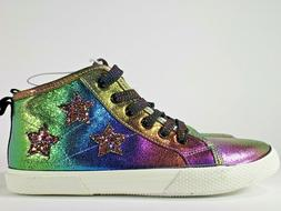 Rainbow Metallic Glitter Girls High Top Sneakers Youth Size