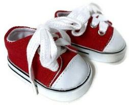 "Red Low Top Sneakers Tennis Shoes made for 18"" American Girl"