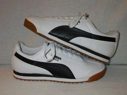 Puma Roma Low Athletic Sneakers White/Black Leather Gum Sole