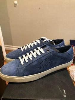 Saint Laurent SL/06 Suede Denim Low Top Sneakers Size 11